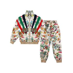Mujeres Nuevos chándal Moda Modelo de los animales Cuatro nudos pantalones 2020 Nueva colorido floral con la cabeza del tigre Trajes 2020 de la chaqueta de chándal