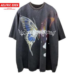 Aelfrico Eden Mariposa lavado camisa de los hombres de verano de Harajuku de gran tamaño de las camisas juntan Streetwear Hip Hop camiseta camisetas del gráfico de la vendimia