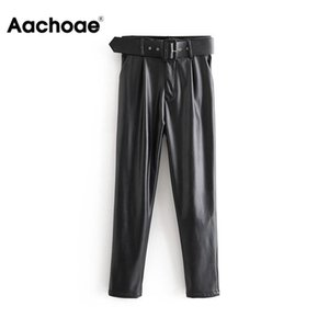 Aachoae Kadınlar Şık Siyah PU Sahte Deri Pantolon Moda Yüksek Bel Kemeri Casual Pileli Pantolon LJ200820 ile Bayanlar Büro pantolonlar Pockets
