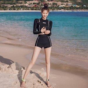 Uzun bel Mayolu kollu güneş kremi dalgıç elbisesi zayıflama kaplıca Yeni k7SQ8 göbek kapsayan yüksek Diving boksör mayo kadın bölünmüş
