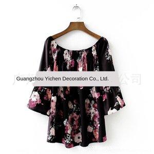 kadınlar 8547 için XY9vP Sonbahar kadın Gömlek kelebek Boatneck sleeveshoulder şifon Kelebek baskılı gömlek bluz