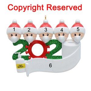 2020 el año en que se quedó en casa de cuarentena Navidad de la familia del árbol de navidad de 5 personalizada Adornos decoración del hogar