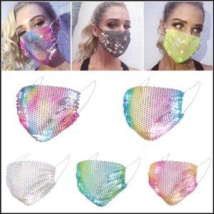 Elmas Parti'yi Bling Renkli Mesh Maskeler Yapay elmas Izgara Net Yıkanabilir Seksi Hollow Maskeler OOA8432 Maskesi