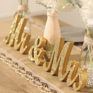 Sr. e Sra Sinal da tabela do casamento Decorações decorativas Ouro Prata MrMrs Letras para Boda adereços foto Backdrops