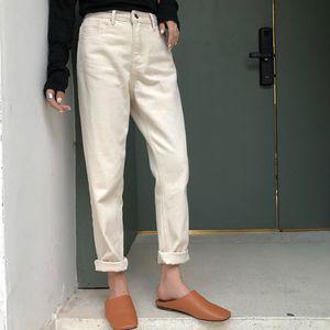 Spring Meters White Jeans Woman Loose Nine Ankle Denim Pants High Waist Dad Jeans 200922
