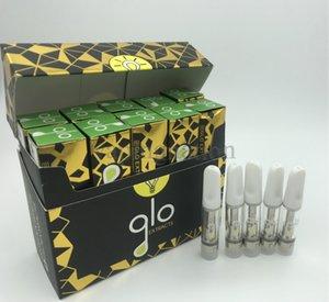 GLO 추출물 카트 vape 카트리지 포장 1ml 0.8 ml 유리 탱크 빈 기화기 펜 카트리지 510 나사 세라믹 코일 vape 카트 10 색
