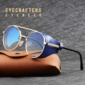 여성 금속 그라데이션 사이드 차양 라운드 태양 안경 2020 남성 스팀 펑크 고딕 양식의 고글 선글라스 레트로 패션 가죽