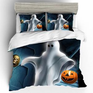 Bed Linen Cotton King Size Duvet Cover Bedding Set Duvet Cover Halloween Pumpkin and Ghosts 3D Bedding Set Duvets and Linen Sets