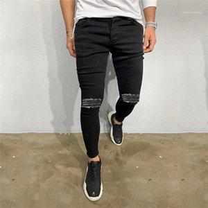 Spring Autumn Light Washed High Waist Demin Pants Man Hip Hop Slim Trousers Mens Black Hole Pancil Jeans Men