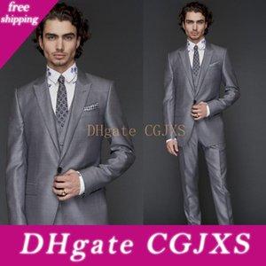 2019 Costumes de mariage Groom ordinaire Conception coupe classique gris clair Un bouton gris Peaked Trois Pièces (Blazer Pantalon Veste) Smokings formelles d'affaires
