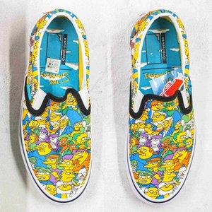 High-топ с низким Фиолетовый Симпсоны холст обувь мультфильм граффити мультфильмы мужчины женщины случайный открытый кроссовки размер 36-45