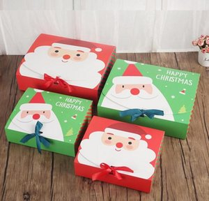 Christmas Eve Big Gift Box Santa Claus Fairy Design Kraft Papercard Present Party Favor Activity Box Red Green Gifts Package Boxes Free Ship