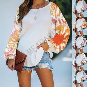 Damen-Blusen Tie-Dye Patchwork PulloverHoodies Fashion Damen Übergröße Langarm-Rundhals-T-Shirts Sweatshirts Boutique ClothesD81104