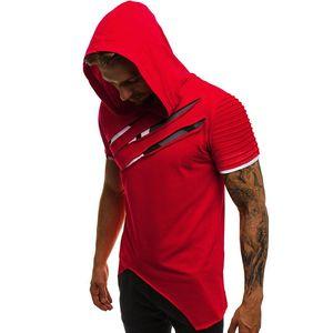 2020 maglietta degli uomini Estate manica corta fitness con cappuccio T-shirt irregolare Hole magliette casual maschile con cappuccio maglietta Tee Shirt Homme