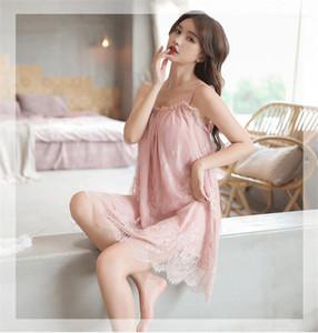 Womens Summer Designer Sleepwear Lace Spaghetti Strap Summer Womens Sleepwear Fresh Solid Color Casual Loose Pyjamas