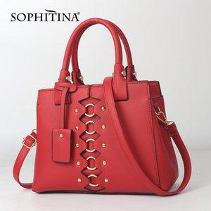 SOPHITINA Fashion Schultertasche Frauen Large Volume Metallknopf Gürtel Zipper Partei Umhängetasche Beutel-Frauen-Einkaufs HandBag E77