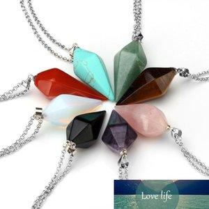 hot Wholesale Natural Gem Stone Hexagon Pyramid Reiki Pendulum Pendant Charms Healing Chakra Amulet new Jewelry