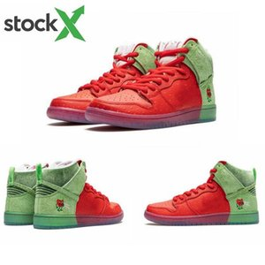 2020 New Dunk SB Chaussures de course haute Stawerry contre la toux rouge hommes verts femmes sport Chaussures de sport CW7093-600