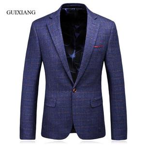 Мужские костюмы Blazers 2021 Стиль Arrvial Стиль Мужчины Высокое Качество Бизнес Повседневная Тонкий Плед Один Одиночный Костюм Куртка Большой Размер S-3XL