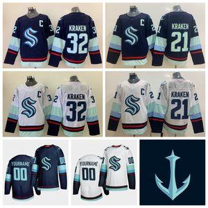 Özel Seattle Kraken Jersey Bayan 32 Kraken 21 Kraken Jersey 2021 Sezon Yeni Takım Ucuz Mavi Beyaz Blank Buz Hokeyi Formalar Dikişli