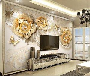 Tamanho personalizado 3D Photo Wallpaper Sala Mural Golden Rose 3D Butterfly Imagem Mural Home Decor Creative Hotel Wall Paper Estudo 3 D