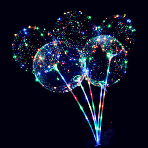 LED light balloon night lighting Bobo ball multicolor decoration Balloon Wedding Decoration bright lighter balloon with stick