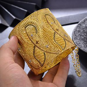Regalos Party Girl Wando la India de lujo Plus tamaño grande de color oro brazaletes para la boda dama árabe Dubai pulseras boda de MOM