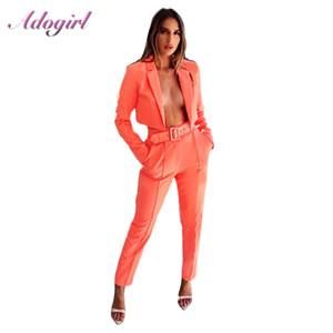 Kemer ile Adogirl Kadınlar Ofis Lady Blazer İki Adet Set Sonbahar Şık Neon Renkli Kısa Biçimsel Blazer Ceket + Kalem Pant Suit