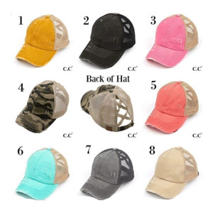 Ponytail Baseball Cap Messy Bun Hats For Women Washed Cotton Snapback Caps Casual Summer Sun Visor Outdoor Hat FY7153