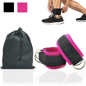 1 Pair Fitness Ankle Straps for Cable Machine Weights Neoprene Padded Ankle Cuffs Double D-Ring for Glute Exercises Leg Workout