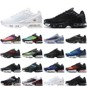 Nike air max tn plus 3 airmax 2020 Tn Plus III Erkek Kadın Koşu Ayakkabıları Üçlü Beyaz Siyah Yanardöner Paraşüt Paketi Hiper Menekşe erkek eğitmenler açık spor ayakkabı