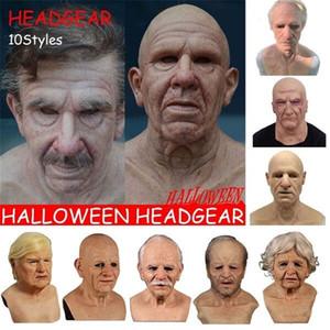 Hombre viejo masquerade máscara látex máscara espeluznante arruga nuevo halloween disfraz de halloween cara mascarilla realista carnaval hombres cara lmvvs