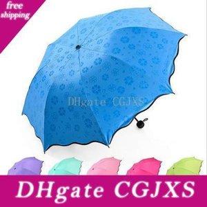 전체 자동 우산 마술 꽃 접는 우산 휴대용 안티-UV 완전 우산 패션 비오는 써니 방풍 우산 Yfa1196
