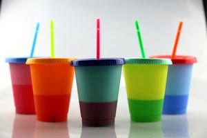 Mais barato 480ml 16 onças Cor Mudar Cup termocrômico mudança de cor tamanho do copo pequeno PP com tampa e palha 5 opções de cores