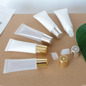 10ml PE vide squeeze Lip Gloss Tubes Container, en gros, bricolage main PE squeeze Lip Glaze Container Tubes, Or / Argent Cap