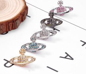 고급 보석 귀걸이 디자이너 보석 패션 스터드 귀걸이 여왕의 어머니 폭스 바겐 비비안 비비안 고전 전체 다이아몬드 작은 Saturn16