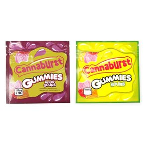 Cannaburst Gummies Sours Mylar Tasche 500mg Edibles leeren Mäppchen Einzelhandel Lagerung Verpackung für trockene Kräuter Tabak Blume