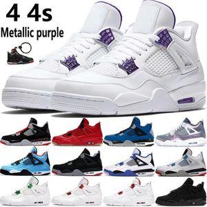 Sapatos novos 4 ovo Splatter 4s Jumpman homens de basquete metálico roxo Monsoon azul bis criados o que os homens tênis ao ar livre