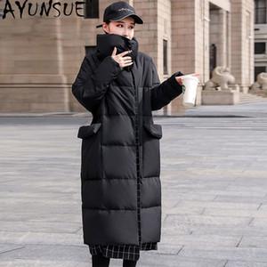AYUNSUE Damen Winter Down Jacket Plus Size Warm Lange Parkas Ente Daunenmantel Weibliche Thick Wattierte Jacke Frauen Kleidung 2020 KJ