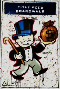 Alec Monopoly Bansky graffiti art Title Deed Wall Decor Handpainted &HD Print Oil Painting On Canvas Wall Art Canvas Pictures 200817