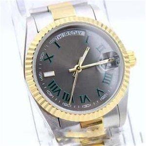 2020 Top Verkauf 2- Ton Grün römische Zahl MensStainless Steel Uhren automatische mechanische Uhr Datum Edelstahl-Mann-116333 Armbanduhr.