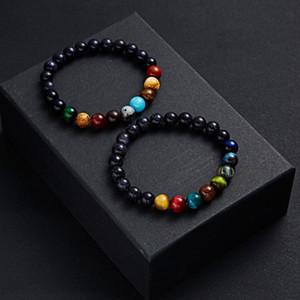 Handmade oito planetas Pedra Natural Bracelet Universo Yoga Chakra Sistema Solar Sun pulseiras elásticas Moda Jóias Bangle