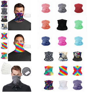 Yüz Maskeleri bandanas katı gökkuşağı baskılı PM 2.5 Filtre Açık Baş Eşarplar Boyun Wrap tozluk Bisiklet Yüz Dikişsiz Magic Eşarp FFA4349 Maske