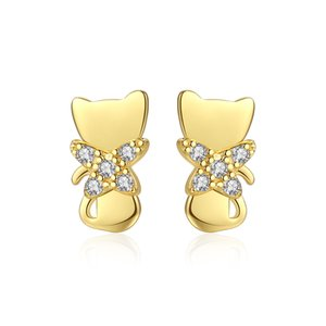 MetJakt S925 Sterling Silver Electroplated Gold Inlaid Zircon Fashion Personality Ladies Earrings
