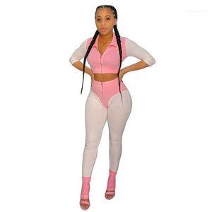 Ternos Vestuário Sexy meia luva magro Ladies Sports Primavera Womens Patchwork Fatos Contrato Cor lapela pescoço Feminino
