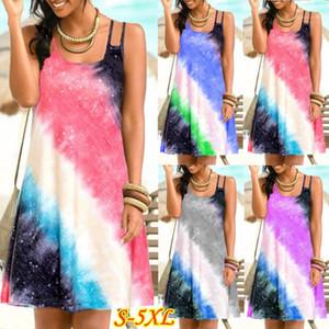 Impresso Spaghetti Strap Um Vestido Line Plus Size Moda Feminina Verão Womens Designer mini vestido do arco-íris