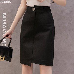 q5vjW 2020 One-Step Bodycon One-Step юбка черной оболочки средней длиной карман OL профессиональной юбка Женской Tight плотно лето новых женщин