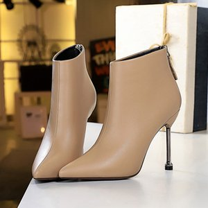2021 Fashion Brand Women Ankle Boots Print High Heels Ladies Shoes Woman Party Dancing Pumps Basic Leather Boots