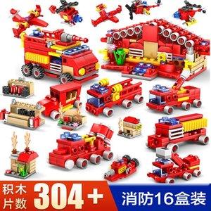 City Fire Building Tijolos Bricks Fire Educacional Crianças Fight Engine Carro DIY Truck Figures Blocos Modelo Brinquedos Sets 03 Kit Vlaso