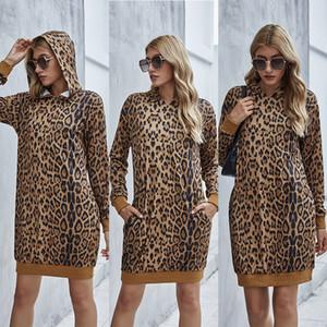 Dropshipping Ladies Autumn Designer Hoodie solto Leopard Impresso Long Sleeve Hoodie Vestido Plus Size Moda Feminina